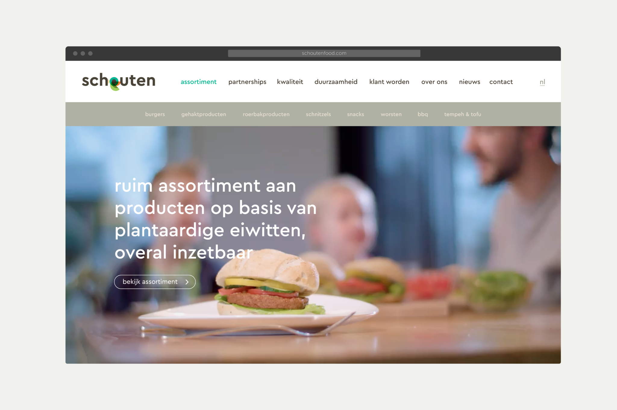 Schouten Food desktop website