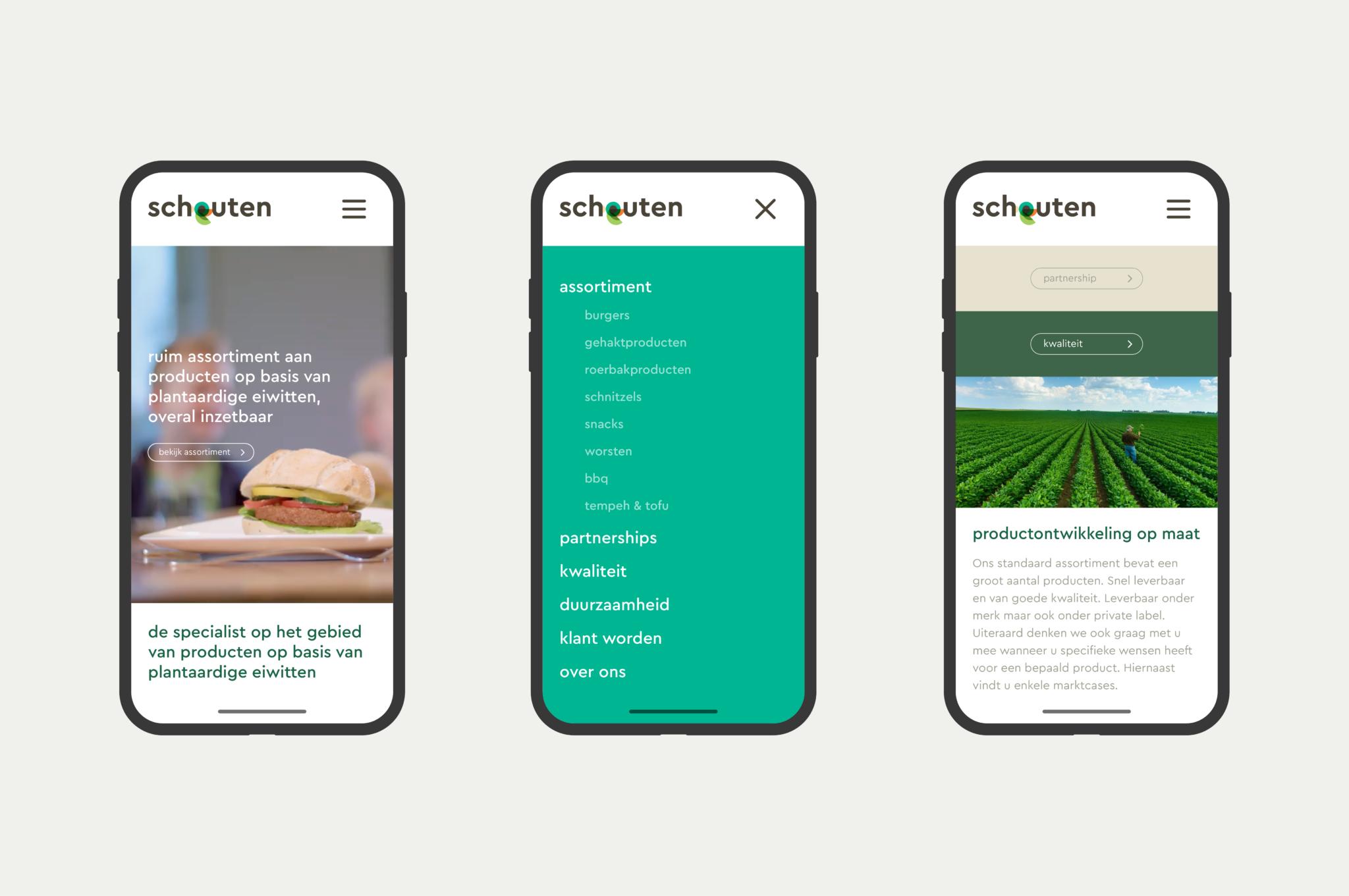 Schouten Food smartphone website